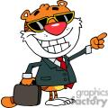 A Business Tiger Pointing Towards Success