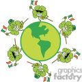 happy shamrocks with ireland flags dancing around the globe gif, png, jpg, eps