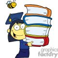 Female Asian Graduate With Books In Her Hands