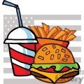 Cheeseburger Drink And French Fries In Front Of A USA Flag