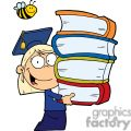 graduation blond girl carrying four books in her hands