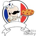 A Banner of A Pleased Chef Inserting A Pepperoni Pizza In Front Of Flag Of France