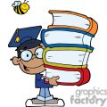 Graduation African American Boy With Books In Hands With a Bee Flying Above