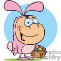 A Happy Kid In The Pink Easter Bunny Suit Holding A Basket Of Eggs