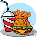 Hamburger Drink And French Fries On A Tray and Blue Background