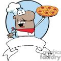 Cartoon African American Proud Chef Holds Up Pizza Banner