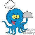 Octopus Chef Serving Food In A Sliver Platter
