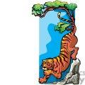 tiger climbing down a tree