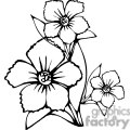 black outline of three flower