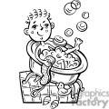 boy taking a bubble bath