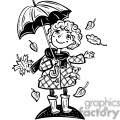 girl holding an umbrella with leaves falling