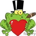 Cartoon-Frog-With-A-Hat-And-Cigar-Holding-A-Red-Heart