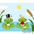 Cartoon-Bride-and-Groom-Frogs-Characters-Lake-Scene