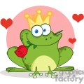Cartoon-Frog-Prince-With-A-Rose-In-Mouth-with-pink-background