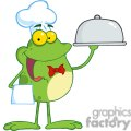 Cartoon-Frog-Mascot-Character-Chef-Serving-Food-In-A-Sliver-Platter