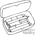Black and white outline of pencils in a pencil box