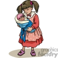 Cartoon girl holding a baby doll