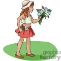 Cartoon girl holding a bouquet of flowers