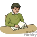 Cartoon student sitting at a desk reading a book