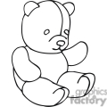 black and white outline of a teddy bear