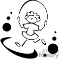 Black and white outline of a little girl jumping rope