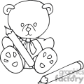 black and white outline of a teddy bear with crayons