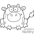 black and white cartoon cow