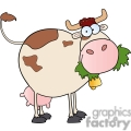 cartoon cow eating grass