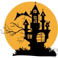 silhouette of a haunted house