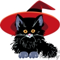 small kitten wearing a witch hat