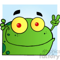 102500-Cartoon-Clipart-Frog-Gesturing-The-Peace-Sign-With-His-Hand