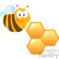 102573-Cartoon-Clipart-Cute-Bee-Cartoon-Character-With-Bee-Hives