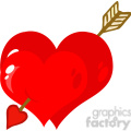 102585-Cartoon-Clipart-Perforated-Two-Heart-With-Arrow