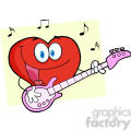 102561-Cartoon-Clipart-Romantic-Red-Heart-Man-Playing-A-Guitar-And-Singing
