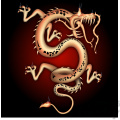 Chinese dragon wit ha red glow