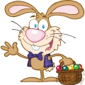 4730-Royalty-Free-RF-Copyright-Safe-Waving-Bunny-With-Easter-Eggs-And-Basket