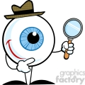 4664-Royalty-Free-RF-Copyright-Safe-Smiling-Detective-Eyeball-Holding-A-Magnifying-Glass