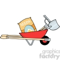 Royalty-Free RF Copyright Safe Red Barrow With Seeds A Rake And Shovel