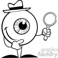 Royalty-Free-RF-Copyright-Safe-Smiling-Detective-Eyeball-Holding-A-Magnifying-Glass