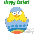 Royalty-Free-RF-Copyright-Safe-Happy-Easter-Text-Above-A-Surprise-Yellow-Chick-Peeking-Out-Of-An-Easter-Egg