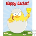Royalty-Free-RF-Copyright-Safe-Happy-Easter-Text-Above-A-Yellow-Chick-Peeking-Out-Of-An-Egg-And-Ringing-A-Bell