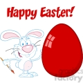 Royalty-Free-RF-Copyright-Safe-Happy-Easter-Text-Above-A-Rabbit-Painting-Easter-Egg