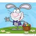 4734-Royalty-Free-RF-Copyright-Safe-Waving-Gray-Bunny-With-Easter-Eggs-And-Basket