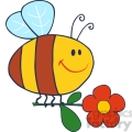 4714-Royalty-Free-RF-Copyright-Safe-Happy-Bee-Fflying-With-Flower