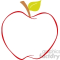 129212 RF Clipart Illustration Apple With Color Outline