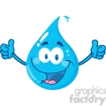 12865 RF Clipart Illustration Smiling Water Drop Showing A Double Thumbs Up