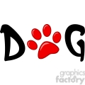 12808 RF Clipart Illustration Dog Text With Red Paw Print