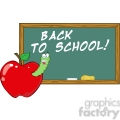 4956-Clipart-Illustration-of-Happy-Student-Worm-In-Apple-In-Front-Of-School-Chalk-Board