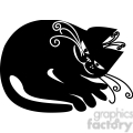 vector clip art illustration of black cat 046