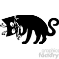 vector clip art illustration of black cat 011